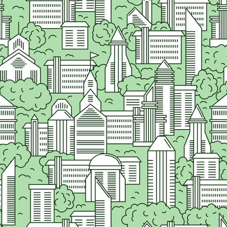 downtown district: City landscape vector seamless pattern. Vector illustration of a city landscape with green trees. Seamless pattern in the outline style.