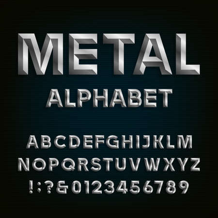 text: Metal Beveled Font. Vector Alphabet. Metal effect beveled letters, numbers and punctuation marks on a dark background. Stock vector font for your headlines, posters etc.