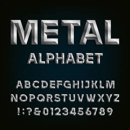 metales: Metal biselado Fuente. Vector del alfabeto. Efecto de metal biselado letras, números y signos de puntuación en un fondo oscuro. Fuente Stock vector para sus titulares, carteles, etc.