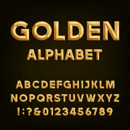metal: Golden Beveled Font. Vector Alphabet. Gold effect beveled letters, numbers and punctuation marks on a dark background. Stock vector font for your headlines, posters etc.