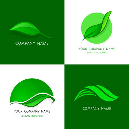 leaf logo: Leaves logos templates. Abstract vector icons of leafs. A set of leaves logos template elements - abstract vector signs for your designs. Illustration