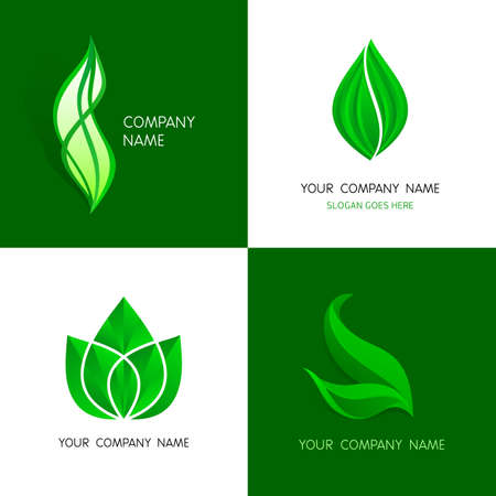 green logo: Leaves logos templates. Abstract vector leafs. A set of leaves logos icon design template elements - abstract vector signs