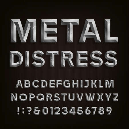 Metal Beveled Distressed Font. Vector Alphabet. Metal effect beveled and distressed letters, numbers and punctuation marks. Stock vector for your headlines, posters etc. Illustration