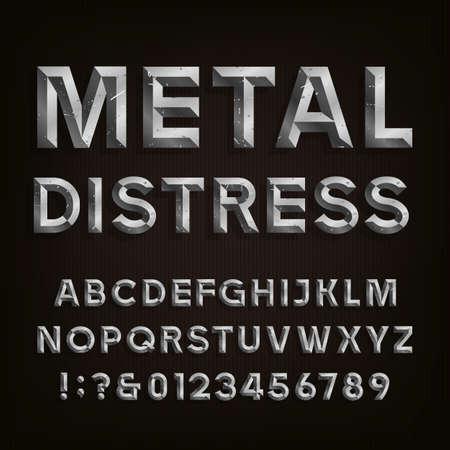cromo: Metal biselado Apenado Fuente. Vector del alfabeto. Efecto de metal biselado y angustiado letras, números y signos de puntuación. Stock vector para sus titulares, carteles, etc.