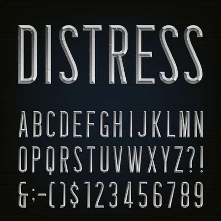 set design: Metal Beveled Distressed Narrow Font. Vector Alphabet. Metal effect beveled and distressed narrow letters, numbers and punctuation marks. Stock vector for your headlines, posters etc.