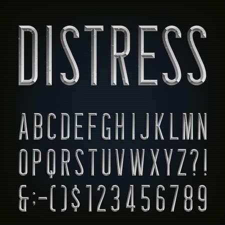 Metal Schuine Distressed Narrow Font. Vector Alphabet. Metaal effect afgeschuind en noodlijdende smalle letters, cijfers en leestekens. Stock vector voor uw koppen, posters etc. Stock Illustratie