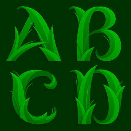 initial: Decorative Grass Initial Letters A, B, C, D.  Illustration