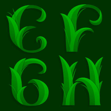 initial: Decorative Grass Initial Letters E, F, G, H.