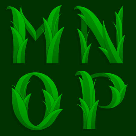 initial cap: Decorative Grass Initial Letters M, N, O, P. Vector illustration of alphabet letters in caps, the M, N, O, P in the grass design over a dark green background.