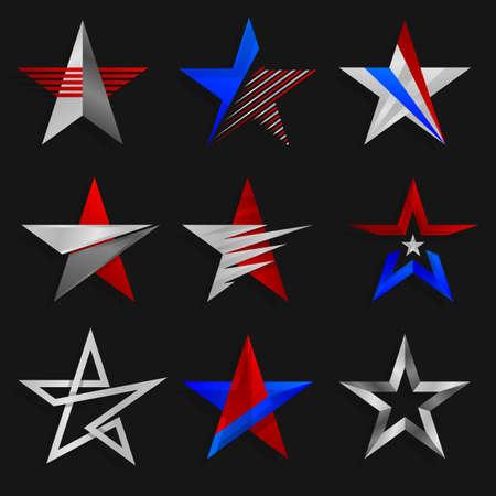 estrellas cinco puntas: Los signos abstractos estrellas. Plantillas de logotipos. Ilustración del vector. Un conjunto de las estrellas de cinco puntas. Logotipos, diseño iconos elementos de plantilla. Signos abstractos del vector.