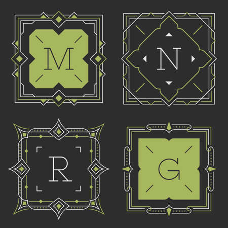 art vector: The set of stylish graceful monogram emblem templates. Vector illustration. The set of monogram emblem templates. Elegant frames ornament logo design in line style with letters and other design elements. Square shaped. Illustration