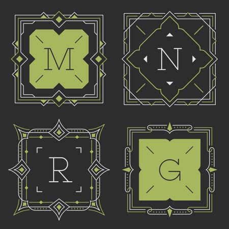 r: The set of stylish graceful monogram emblem templates. Vector illustration. The set of monogram emblem templates. Elegant frames ornament logo design in line style with letters and other design elements. Square shaped. Illustration