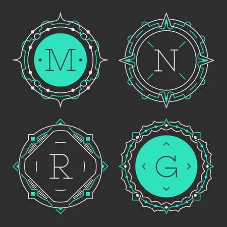 letter g: The set of stylish graceful monogram emblem templates. Vector illustration. The set of monogram emblem templates. Elegant frames ornament logo design in line style with letters and other design elements. Round shaped.