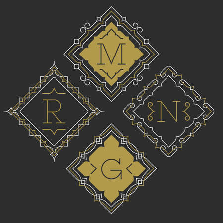 diamond shaped: The set of stylish graceful monogram emblem templates. Vector illustration. The set of monogram emblem templates. Elegant frames ornament logo design in line style with letters and other design elements. Diamond shaped.