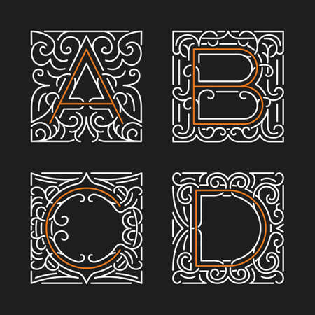 calligraphic: The set of monogram emblem templates. Elegant frames ornament  design in line style with letters A, B, C, D. Vector Illustration.