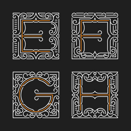 h: The set of monogram emblem templates. Elegant frames ornament  design in line style with letters E, F, G, H. Vector Illustration.