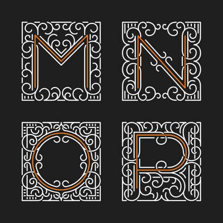 The set of monogram emblem templates. Elegant frames ornament logo design in line style with letters M, N, O, P. Vector Illustration.