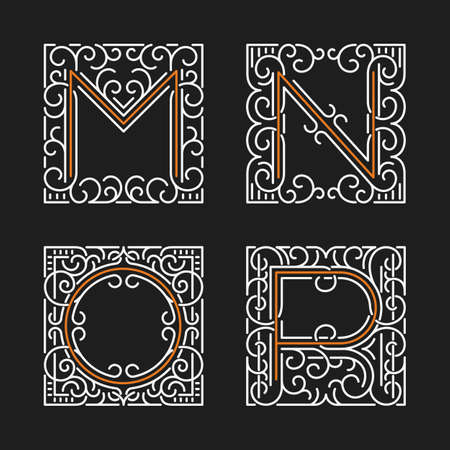 letter m: The set of monogram emblem templates. Elegant frames ornament logo design in line style with letters M, N, O, P. Vector Illustration.