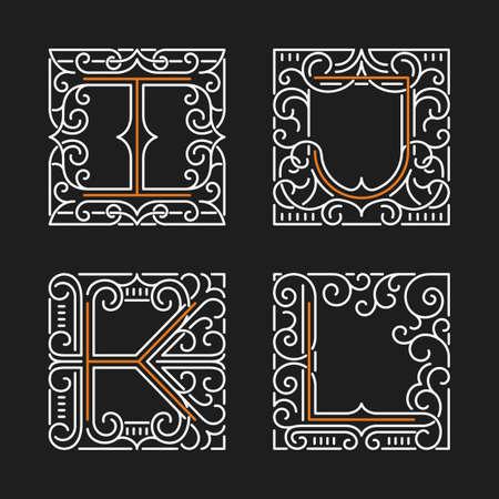The set of monogram emblem templates. Elegant frames ornament logo design in line style with letters I, J, K, L. Vector Illustration.