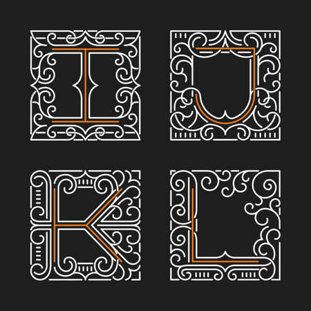 letter l: The set of monogram emblem templates. Elegant frames ornament logo design in line style with letters I, J, K, L. Vector Illustration.
