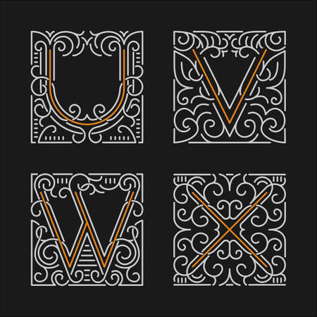 The set of monogram emblem templates. Illustration