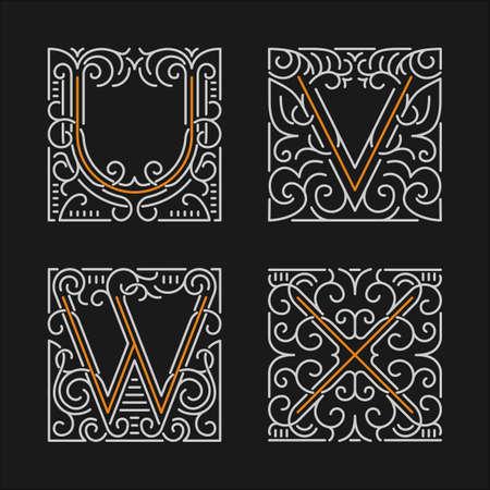 letter v: The set of monogram emblem templates. Illustration