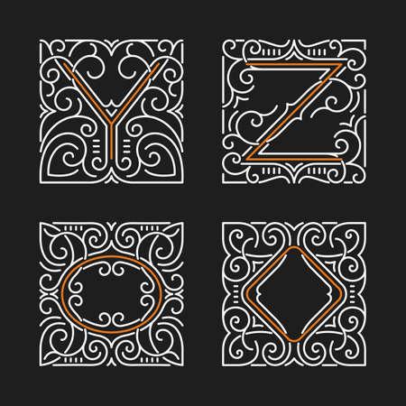 art deco frame: The set of monogram emblems.
