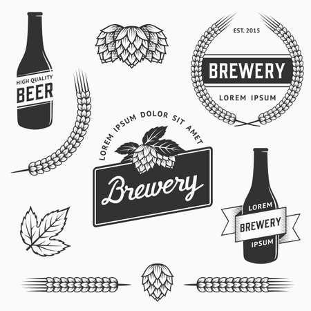 Vintage set of brewery logos, labels and design element. Stock vector. Vintage vector craft beer and brewery emblems, logos templates, labels, symbols and design elements. Çizim