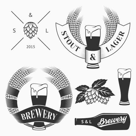 beer label design: Vector craft beer and brewery emblems, logos templates, labels, symbols and design elements in vintage style.