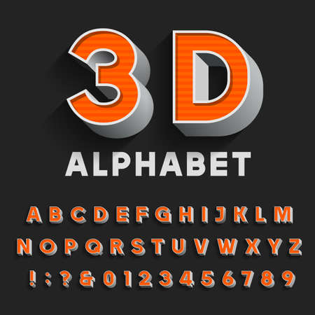 3D retro type font with shadow. Vector Alphabet. 3D effect vintage letters, numbers and punctuation marks. Stock vector for your headlines, posters etc. 向量圖像