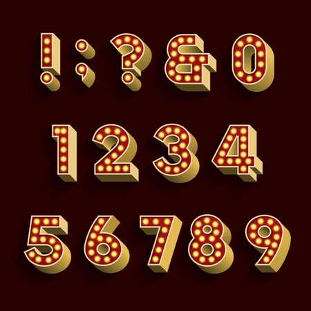numeros: Bombilla Retro Luz del alfabeto vector de fuente. Parte 3 de 3. Los números y símbolos. 3D retro números y símbolos con las bombillas y la sombra sobre un fondo oscuro.