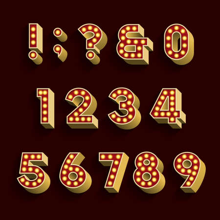 numbers set: Retro Light Bulb Alphabet Vector Font. Part 3 of 3. Numbers and symbols. 3D retro numbers and symbols with light bulbs and shadow on a dark background.