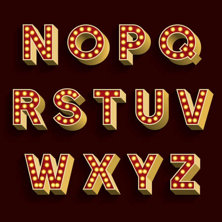 retro font: Retro Light Bulb Alphabet Vector Font. Part 2 of 3. Letters N - Z. 3D retro type letters with light bulbs and shadow on a dark background.