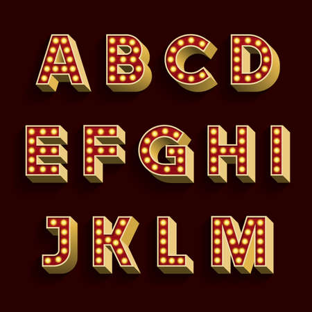 Retro Light Bulb Alphabet Vector Font. Part 1 of 3. Letters A - M. 3D retro type letters with light bulbs and shadow on a dark background.