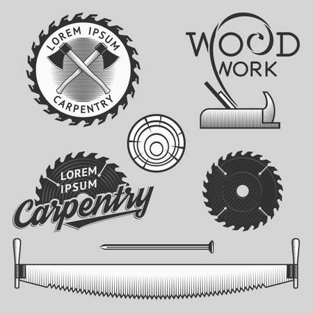 saws: Vintage wood works and carpentry logos, emblems, templates, labels, symbols and design elements for your design. Stock vector.