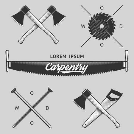 serrucho: Trabajos de la vendimia de madera y emblemas de carpintería, plantillas de logotipos, etiquetas, símbolos y elementos de diseño. Stock vector. Vectores