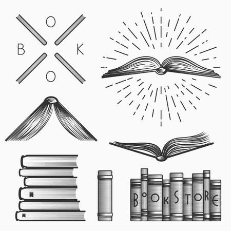 book store: Vintage book store and library emblems, logos templates, labels, symbols and design elements. Stock vector. Vectores