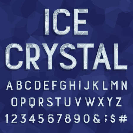 Crystal ice type font. Vector Alphabet. Frozen ice letters, numbers and punctuation marks on a crystal background. Stock vector for your headlines, posters etc.