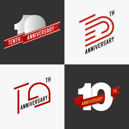 10th: The set of 10th anniversary signs. The set of 10th anniversary signs in different styles. Design elements. Stock vector.