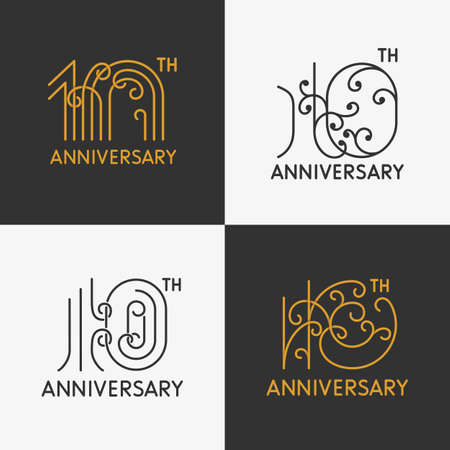 10th: The set of 10th anniversary signs. The set of 10th anniversary ornate signs. Design elements. Stock vector. Illustration