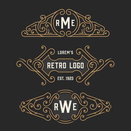 art logo: The set of stylish vintage logo and monogram emblem templates. Elegant retro frames ornament logo design. Vector illustration.