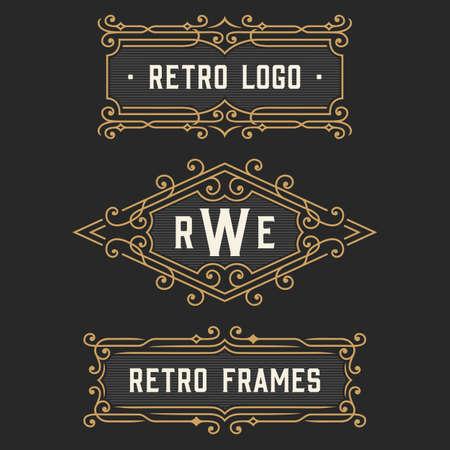 The set of stylish retro logo and monogram emblem templates. Elegant vintage frames ornament logo design. Stock vector.