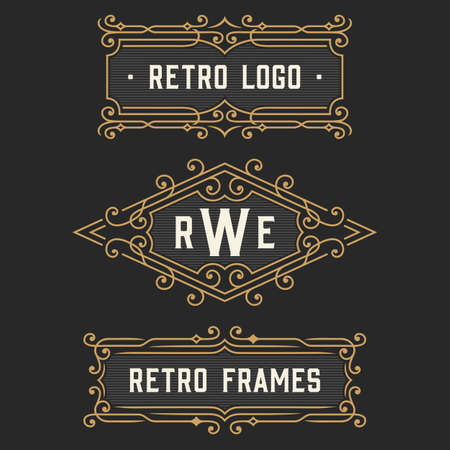 frame: The set of stylish retro logo and monogram emblem templates. Elegant vintage frames ornament logo design. Stock vector.