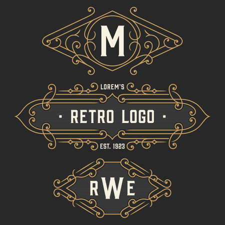 business letters: The set of elegant retro monogram emblem and logo templates. Elegant vintage frames ornament logo design. Stock vector. Illustration