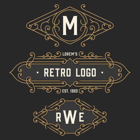 The set of elegant retro monogram emblem and logo templates. Elegant vintage frames ornament logo design. Stock vector. Çizim