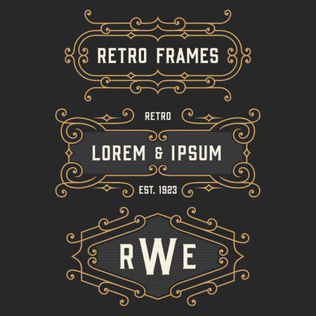 The set of elegant retro logo and monogram emblem templates. Elegant vintage frames ornament logo design. Stock vector.