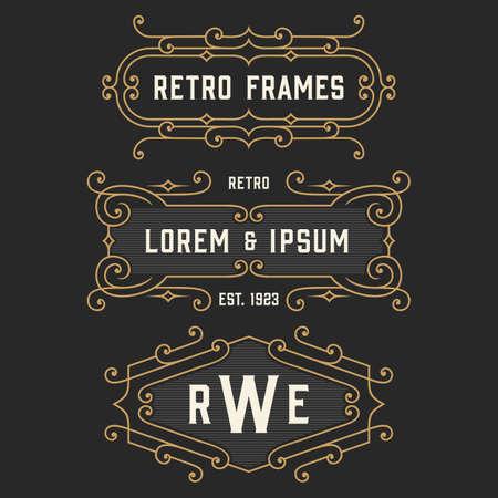 art deco design: The set of elegant retro logo and monogram emblem templates. Elegant vintage frames ornament logo design. Stock vector.