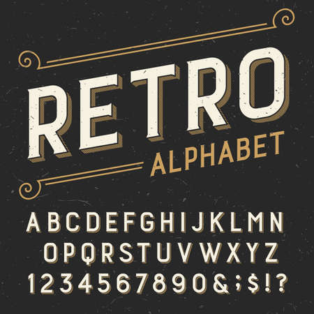 script: Retro alphabet vector font. Serif type letters, numbers and symbols. on a dark distressed scratched background. Stock vector typography for labels, headlines, posters etc.