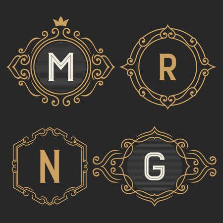 세련된 빈티지 모노그램 로고 및 로고 템플릿 세트. 우아한 복고풍 비즈니스 기호, 정체성, 호텔, 카페, 부티크, 보석 레이블입니다. 주식 벡터.