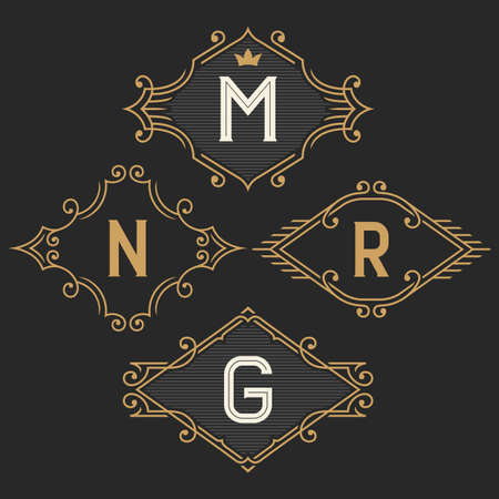 line art: El conjunto de plantillas elegantes emblema del monograma y del logo de la vendimia. Signo de estilo retro negocio, identidad, etiqueta para el hotel, cafeter�a, boutique, joyer�a. Stock vector.